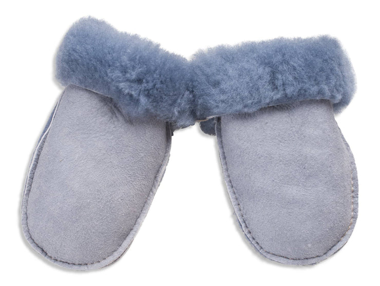 Nordvek sheepskin kids puddy mittens light blue without ribbon 303-100
