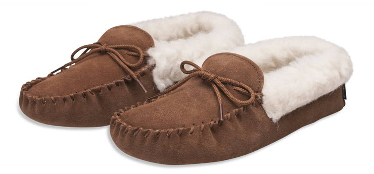 Womens Sheepskin Suede Moccasins - Wool Lined - Soft Leather Sole
