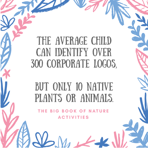 Inside blue and pink floral circle is the caption: The average child can identify over 300 corporate logos but only 10 native plants or animals - data from the Big Book of Nature Activities