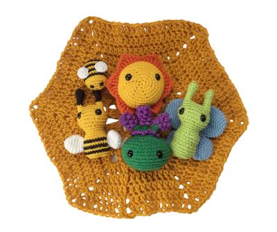 Nature toys - pollinator play set - Crocheted amigurumi sun, bees, butterfly and lavender plant on a yellow hexagonal play mat and carry case