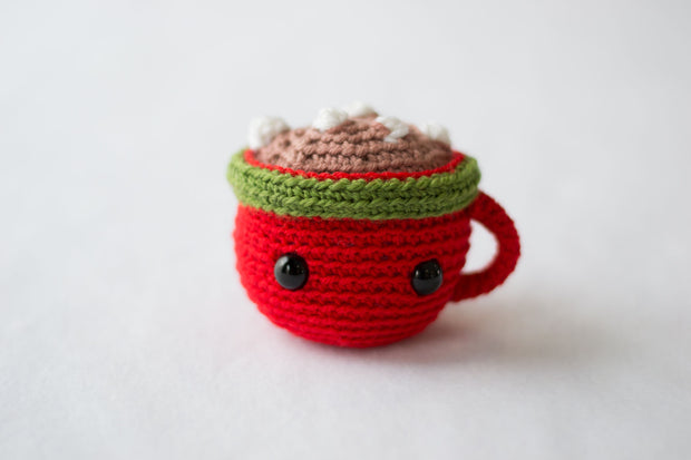 custom plush toys - crocheted mug of hot chocolate with marshmallows on a white background