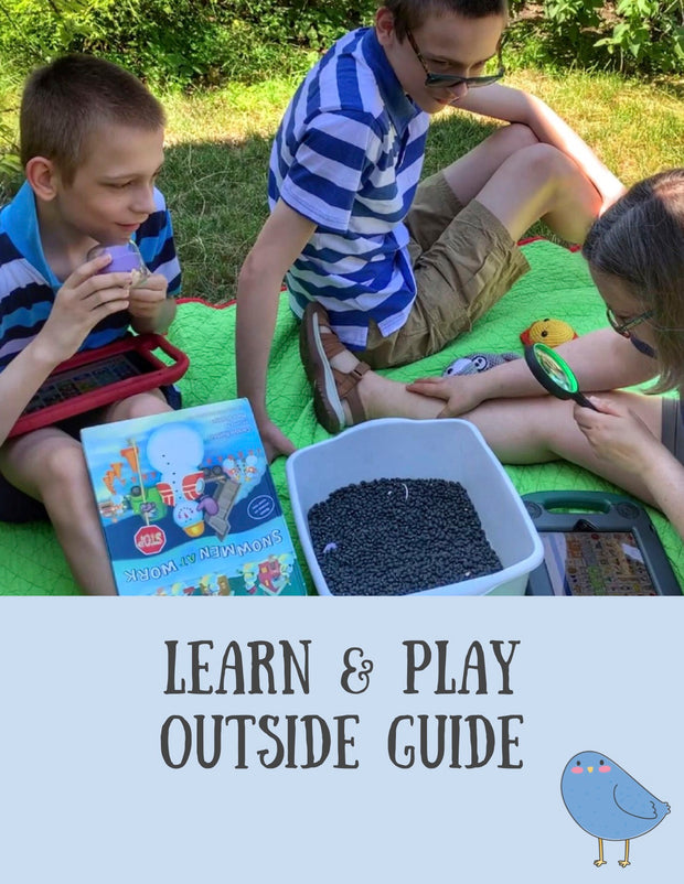 Outside play - front cover of Learn and Play Outside Guide includes picture of two teen boys and mother doing a moon landing activity outside