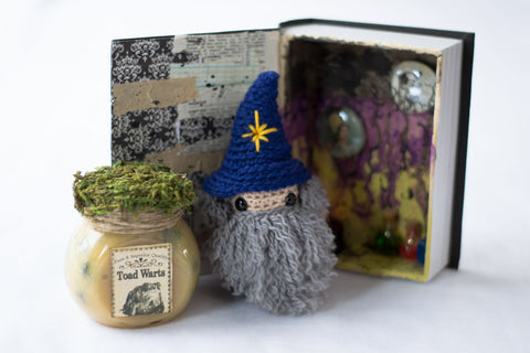 Crocheted wizard in laboratory