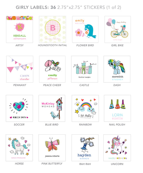 girl stickers (pennant)