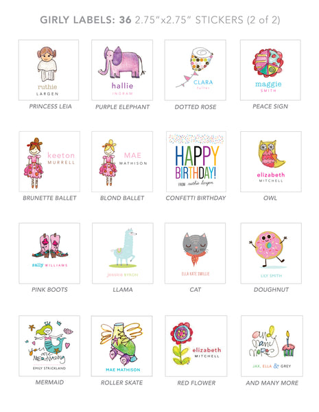 girl stickers  (purple elephant)
