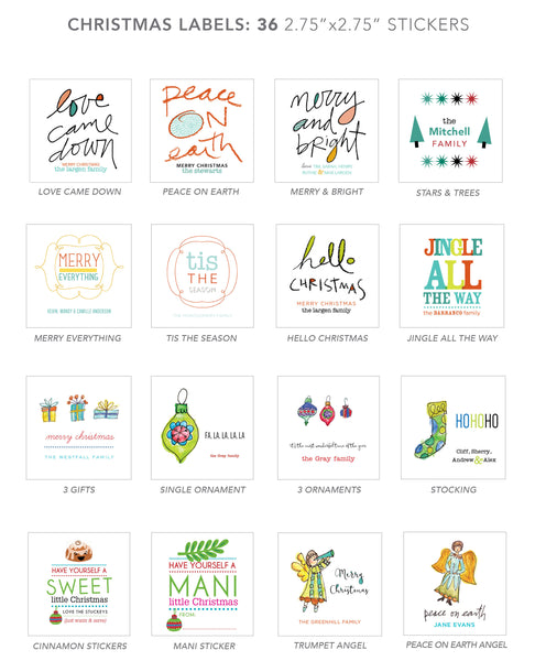 christmas stickers (peace on earth)
