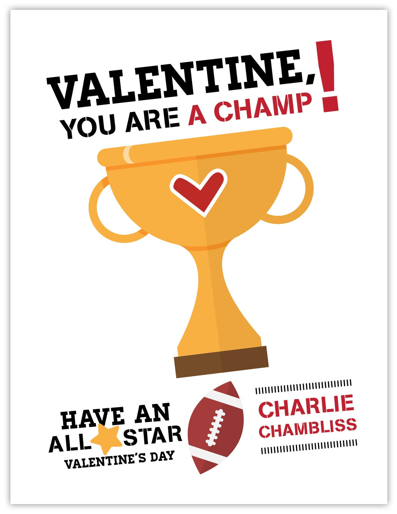 Football Champ Boy Valentine