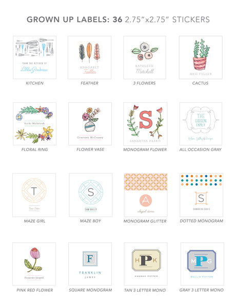 grown up stickers (SQUARE MONOGRAM)