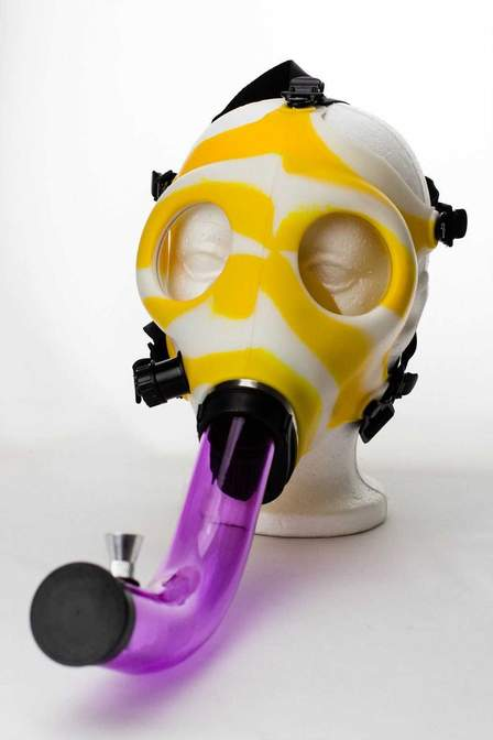 Silicone Gas Mask Bong Yellow Mellow!