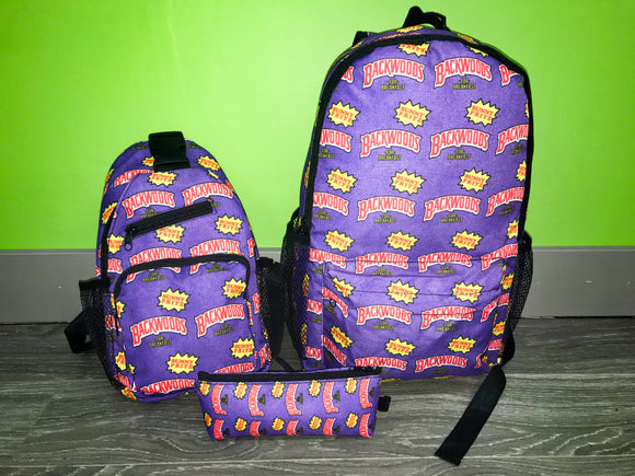 3pcs Purple Backwoods Backpack