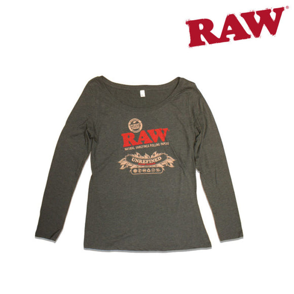 Large RAW Ladies Scoop Neck Black Long Sleeve T-Shirt