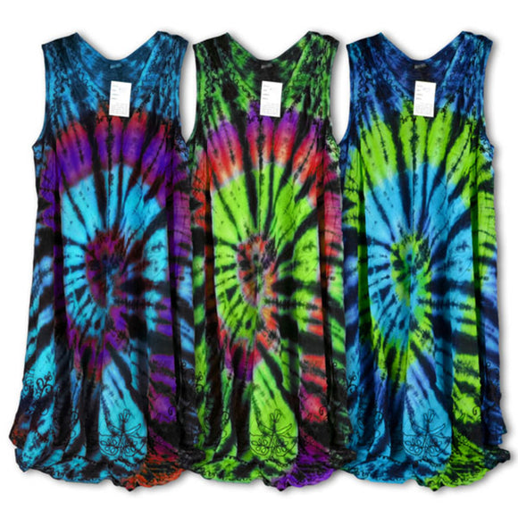 Spiral Tie Dye Dress Assorted Colors