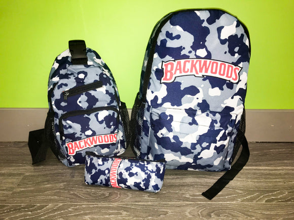 3pcs Camo Backwoods Backpack