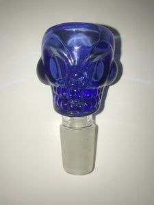 Skull Glass Bowl with Handle - 18mm Male - Blue