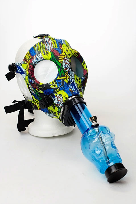 Silicone Gas Mask with Acrylic Water Bong Cartoon Graffiti