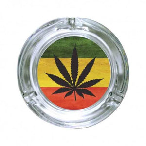 Glass Round Leaf Ashtray - Assorted Color