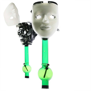 White Face Mask (Glow Lights at Front) Silicone Gas Mask