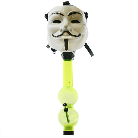 Guy Fawkes Mask - White Silicone Gas Mask Bong