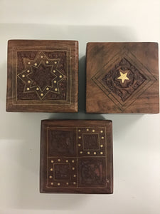 Hand Carved wood Box with inlay