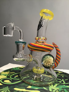 "6.5"" Pulsar Glass Rig Horned with Banger"