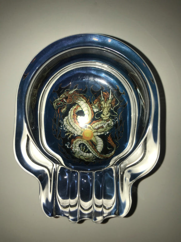 Glass Chopper Skull Ashtray