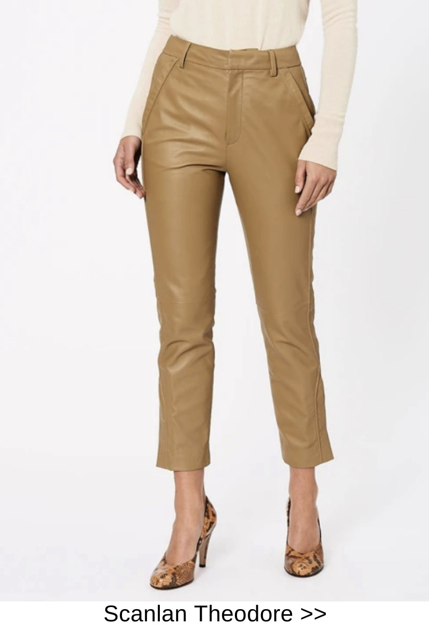 tan leather pants designer style