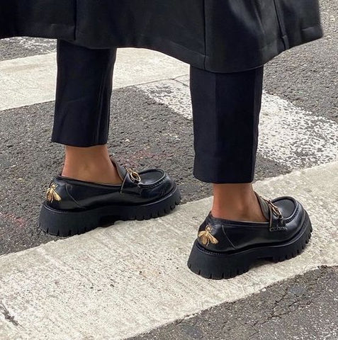 black loafer shoes gucci style fashion trends