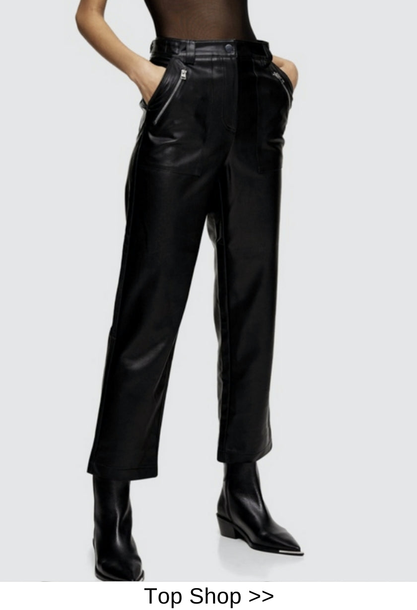 faux leather pant black
