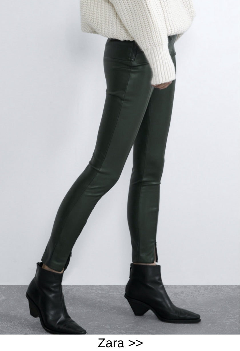 faux leather pant zara style