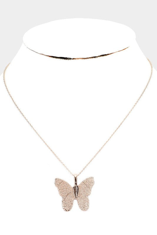 Gold Dipped Textured Butterfly Pendant Necklace
