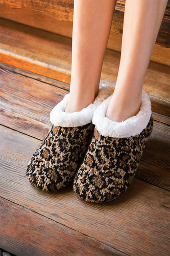Cheetah Print Sherpa Lined Slippers