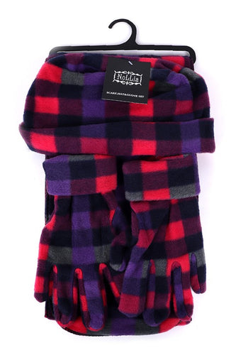 Fleece Plaid Hat, Glove and Scarf Set