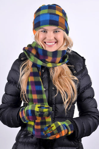 Plaid Winter Hat, Scarf and Glove Set