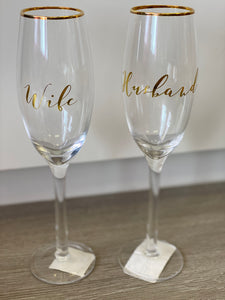 Champagne Glass Set Husband/Wife