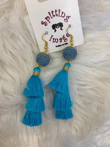 Threaded Ball Tassel Earrings