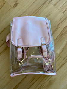Clear PVC Glossed Leather Backpack