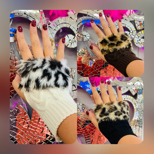 Faux Fur Knitted Fingerless Gloves