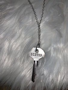 Hammered Sister Key Necklace