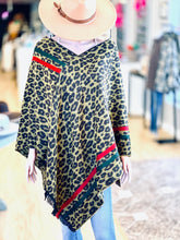 Load image into Gallery viewer, Leopard Stripe Fringe Poncho