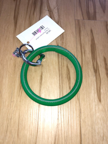 O Key Ring Green Leather