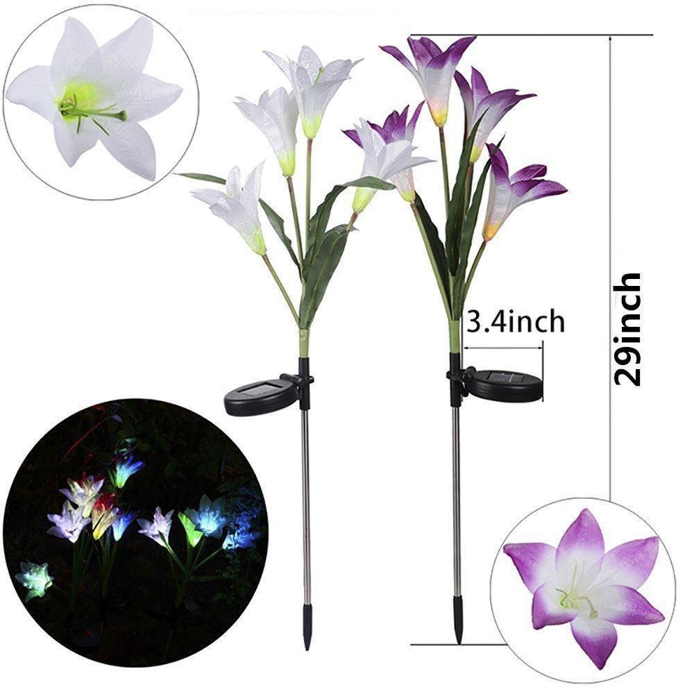 (Buy Two Over 29$ Free Shipping )2019 New Upgraded Artificial Lily Solar Garden Stake Lights