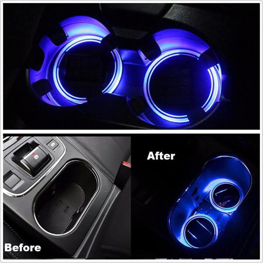 ( Buy Two Free Shipping)Car Solar Cup Holder Bottom Pad LED Light 7 Colorful Solar charging Decoration,2 pack