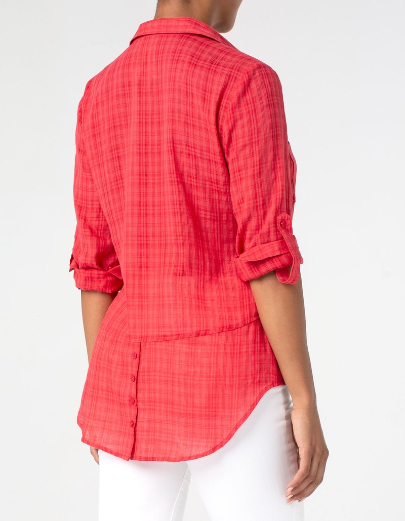 Button Back Shirt Red