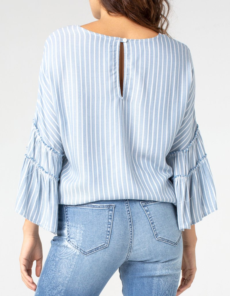 Bell Sleeve Popover Top - Stripe