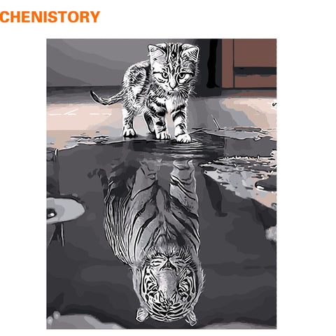 Reflection Cat see White Tiger Animal DIY Paint By Numbers Canvas No Frame  16x20in