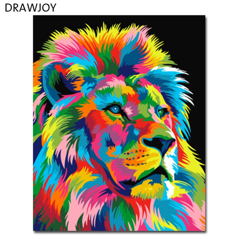 Colorful Abstract Lion Picture on DIY Canvas  Choose Frame or Frameless