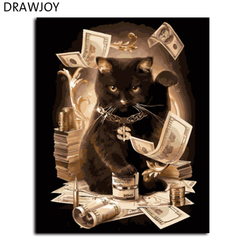 Black Cat With Money  Painting DIY on Wall Canvas Choose Frameless or Framed
