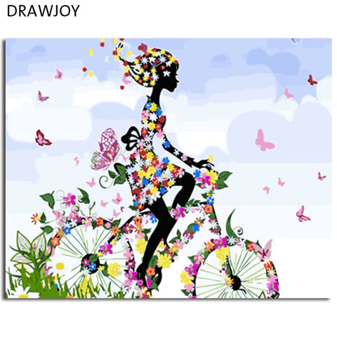 Girl on Bike with Butterfly Landscape DIY Paint by numbers on Canvas  16x20in  Choose Frameless or with Frame
