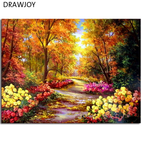 Fall Autumn Woods Landscape Painting on Canvas DIY Paint By Number