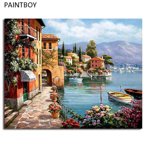 DIY Painting on Canvas Seascape European Setting  Choose Frame or Frameless